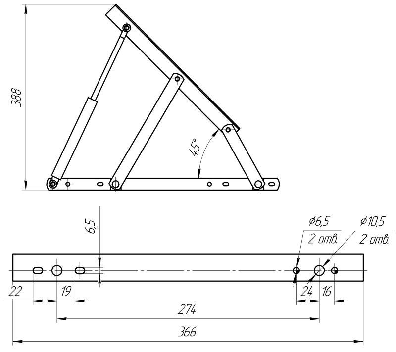 Подъемный механизм кровати чертежи 106